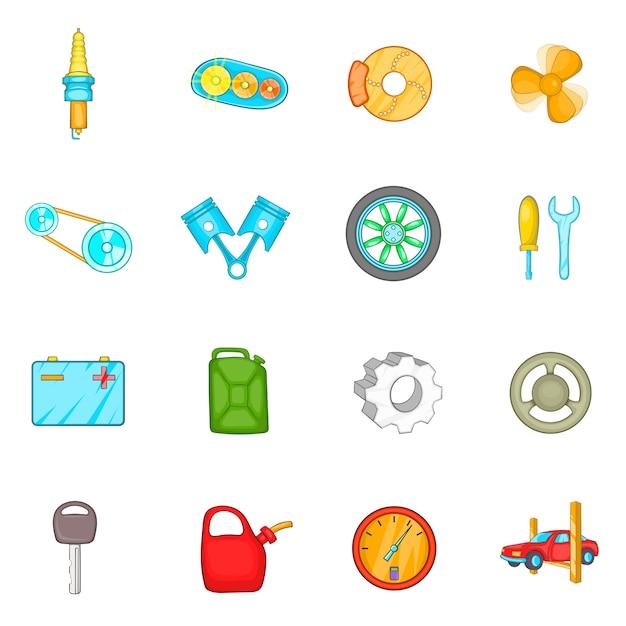 Auto spare parts icons set Premium Vector