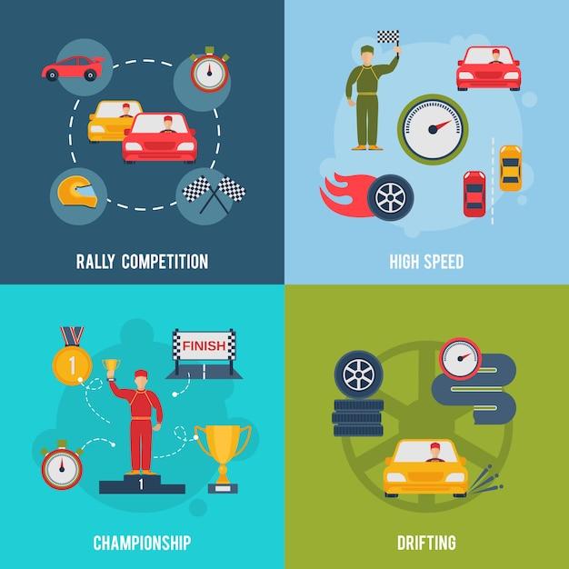Auto sport flat Free Vector