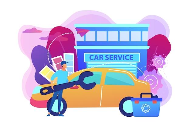 Автоматический тюнер с ключом и ящиком для инструментов, модифицирующий автомобиль в автосервисе. тюнинг автомобилей, кузовной цех, концепция обновления музыки автомобиля. яркие яркие фиолетовые изолированные иллюстрации Бесплатные векторы