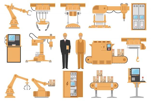 Le icone decorative dell'assemblea automatizzata hanno messo con l'illustrazione di vettore isolata processo di fabbricazione del macchinario di gestione del computer dell'operatore dell'ingegnere Vettore gratuito