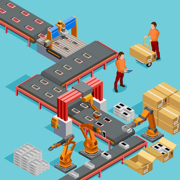 Automated factory production line isometric poster Free Vector