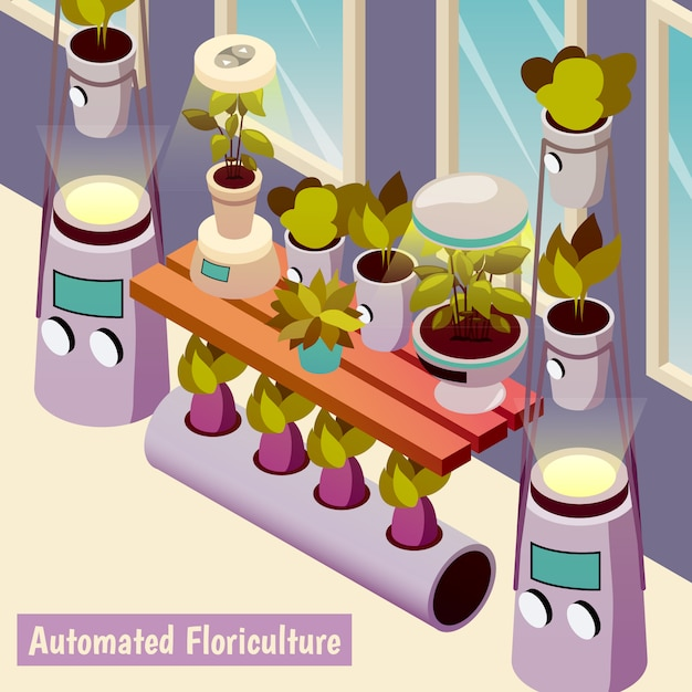 Automated floriculture isometric illustration Free Vector