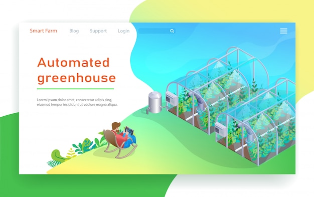 Automated greenhouse. Premium Vector