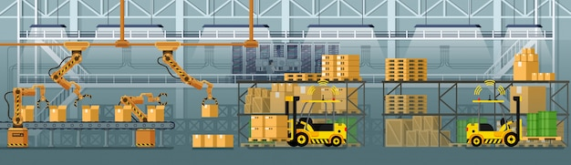 Automated and robotized warehouse Premium Vector
