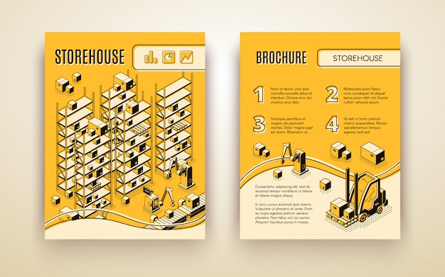 Automated storehouse brochure Free Vector