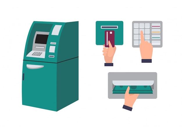 自動預け払い機とクレジットカードをatmスロットに挿入する手 Premiumベクター