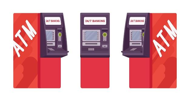 赤い色の現金自動預け払い機 Premiumベクター