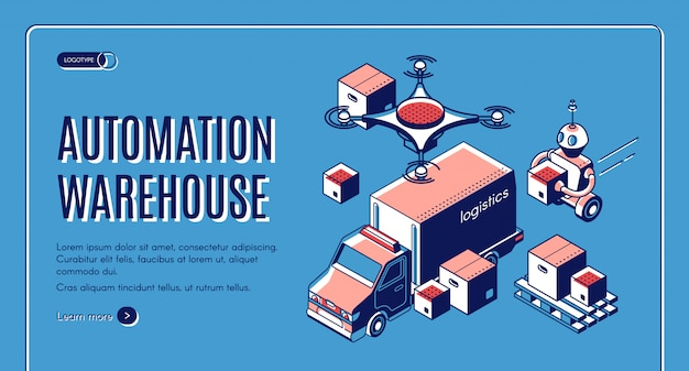 Automated warehouse logistics landing page with robots loading boxes in delivery truck Free Vector