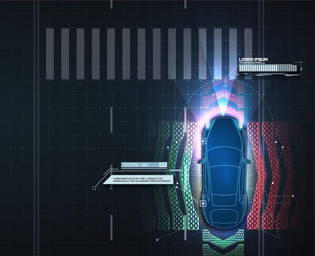 Система автоматического торможения позволяет избежать аварии из-за автомобильной аварии. концептуальные системы помощи водителю. автономный автомобиль. беспилотный автомобиль. Premium векторы