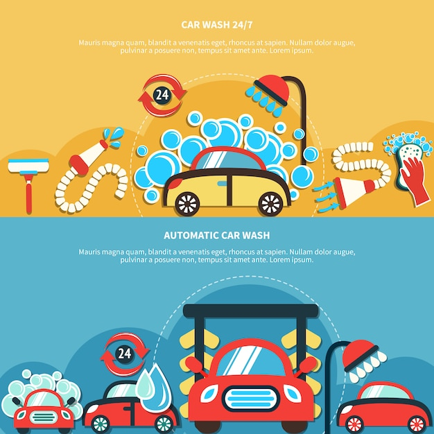Automatic car wash banners Free Vector