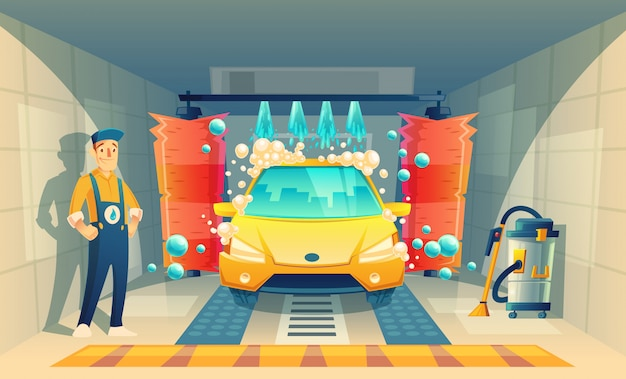 Automatic car washing, service with cartoon character in box, yellow vehicle inside the garag Free Vector