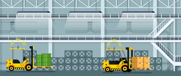 Automatic forklift car driving freight and goods Premium Vector