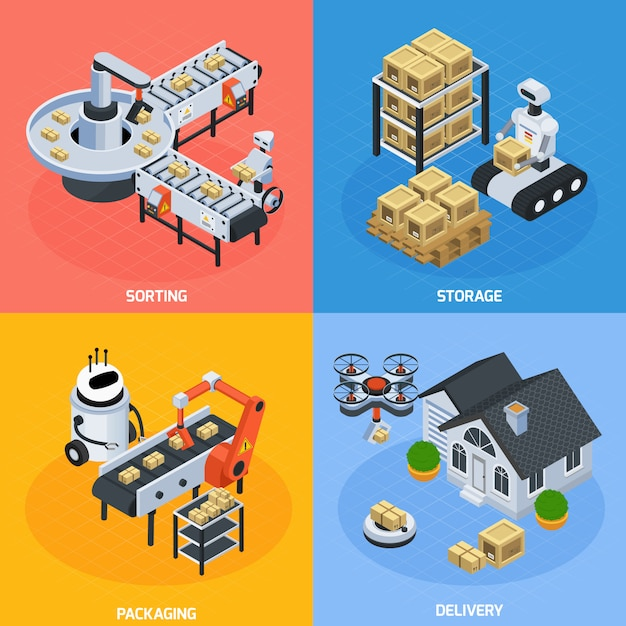 Automatic logistics composition set Free Vector