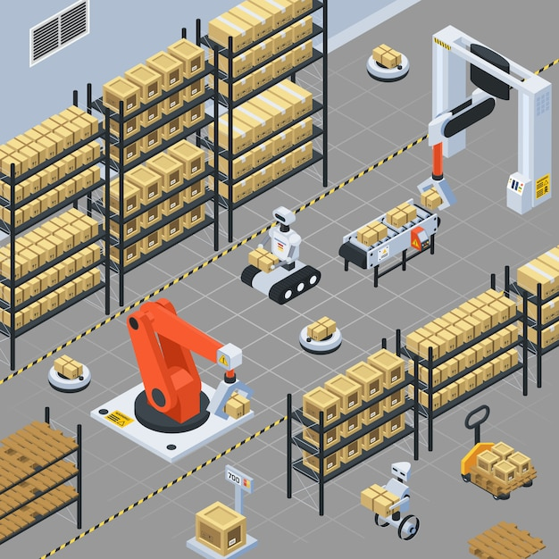 Automatic logistics  delivery isometric composition Free Vector
