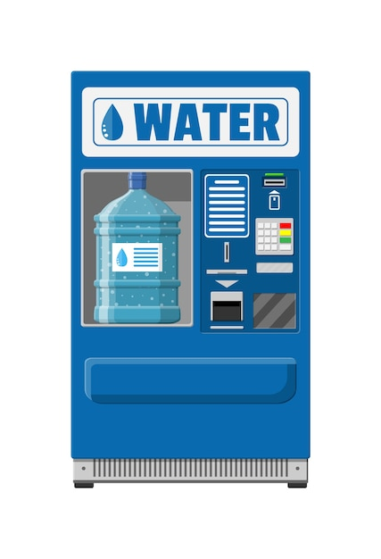 Automatic vending machine with clean drinking water. Premium Vector