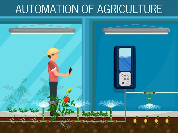Automation agriculture Premium Vector
