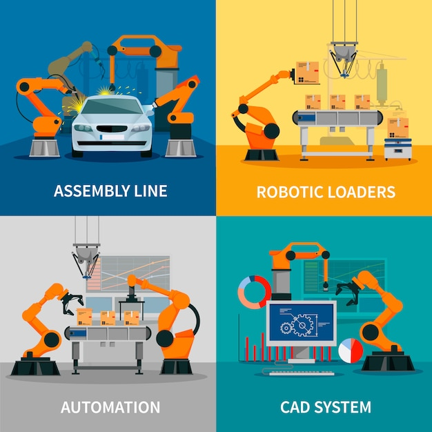 Automation concept vector images set with assembly line and cad system Free Vector