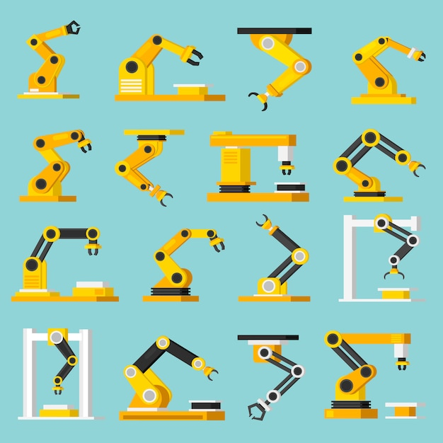 Automation conveyor orthogonal flat icons set Free Vector