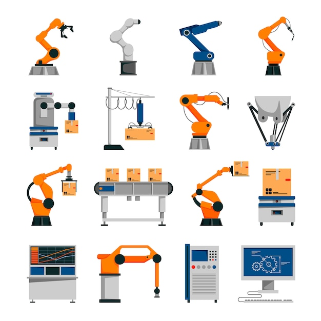 Automation icons set Free Vector