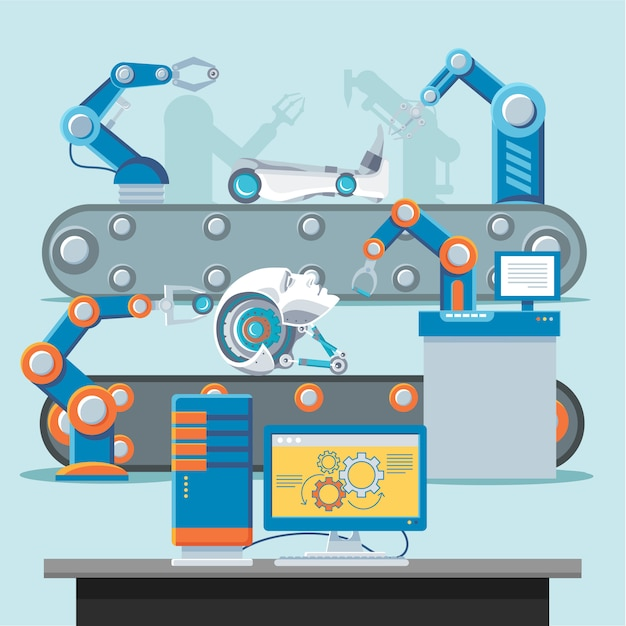 Automation manufacturing template Free Vector