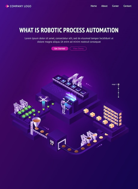 Automation technologies isometric landing page Free Vector