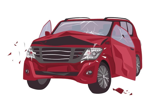 Automobile damaged by collision isolated. wrecked or crashed auto Premium Vector