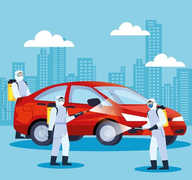 Услуги по дезинфекции автомобилей для дизайна иллюстрации болезни 19 Premium векторы