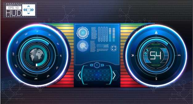 Automotive or aviation instrument panel instruments, on a dark background. Premium Vector