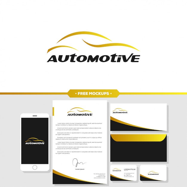 Automotive car logo branding with stationery mockup Premium Vector
