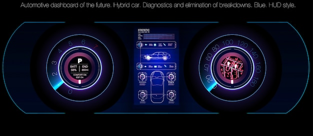 Automotive dashboard of the future. hybrid car. diagnostics and elimination of breakdowns. blue. hud style.  image. Premium Vector