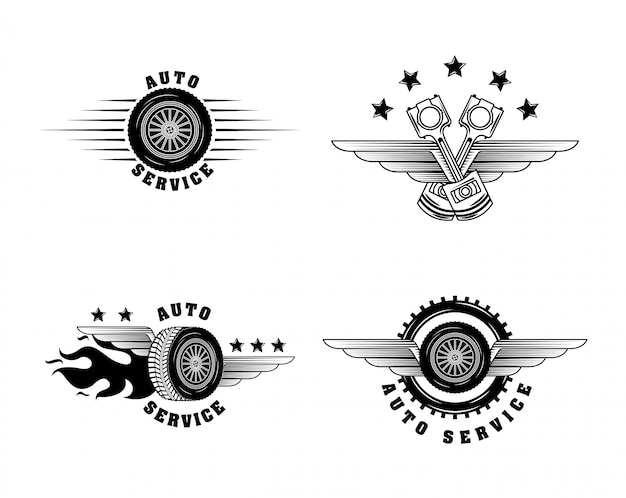 Automotive industry labels Free Vector