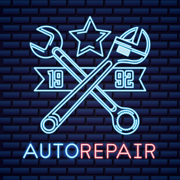 Automotive industry neon sign Free Vector