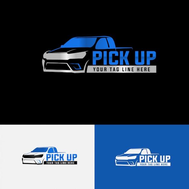 Automotive logo template pick up Premium Vector