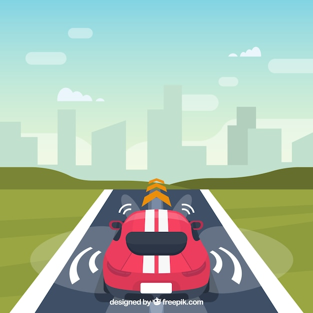 Autonomous car concept with flat design Free Vector
