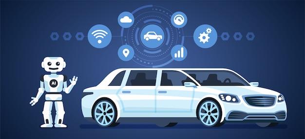 自動運転車。ロボットとアイコンが付いた自動運転車。人工物 Premiumベクター