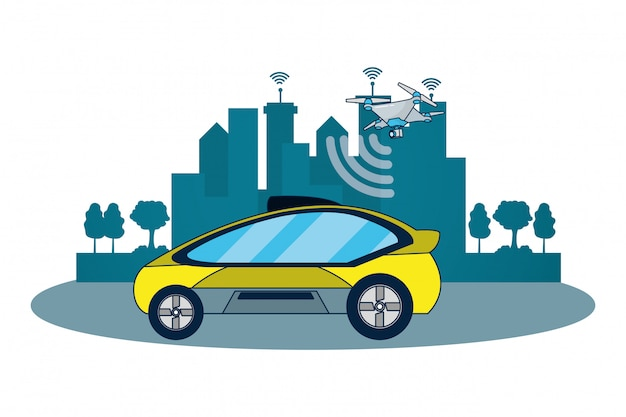 Autonomous car technology Premium Vector