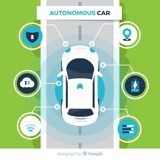 Autonomous car with flat design Free Vector