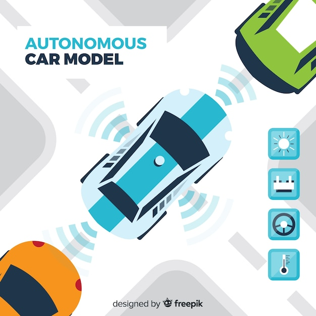 Autonomous car with flat design Free Vector