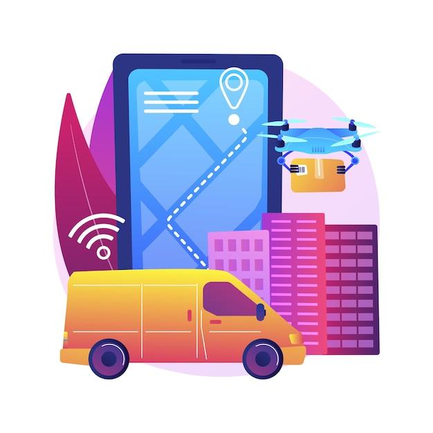 自律配信の抽象的な概念図。ドローン配達、人との接触なし、自動宅配便サービス、自律型ロボット、自動運転車、宅配便なし。 無料ベクター