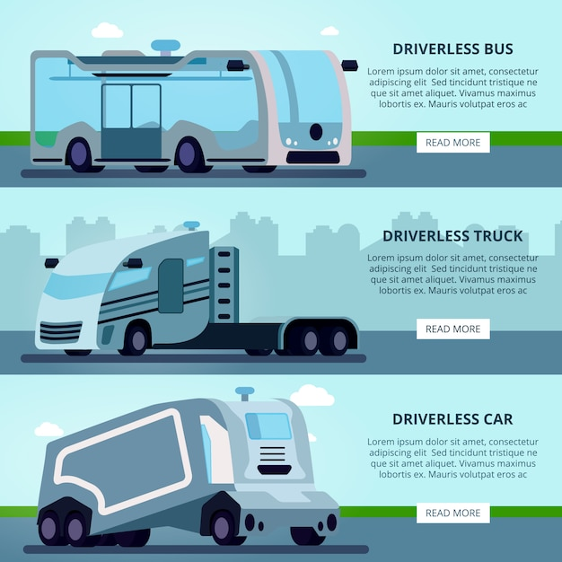 Autonomous Driverless Vehicles Navigation Systems Banner Free Vector