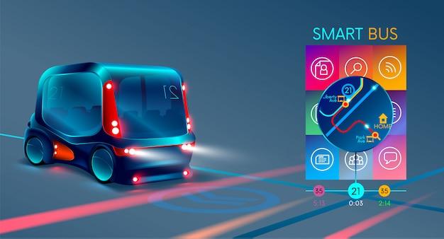 Autonomous electric smart bus or minibus, Premium Vector