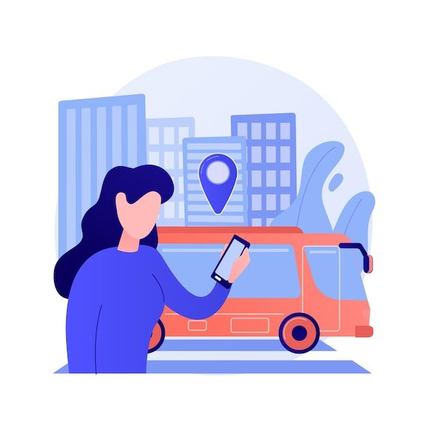 자치 대중 교통 추상적 인 개념 벡터 일러스트 레이 션. 자율 주행 버스, 도시 교통 서비스, 스마트 택시, 자동 도로 서비스, 공공 버스, 도시 기차, 교통 추상 은유. 무료 벡터
