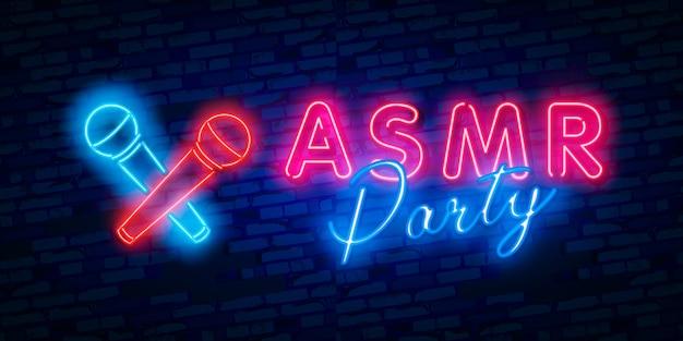 Autonomous sensory meridian response, asmr party neon logo Premium Vector
