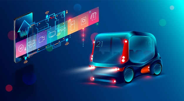 Autonomous smart bus, display shows information about the vehicle is moving Premium Vector