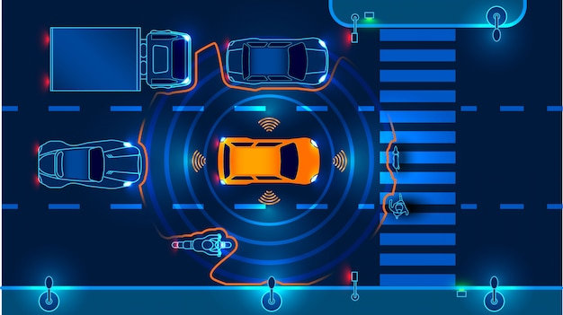 Autonomous smart car goes on the road in traffic. scans the road, observe the distance Premium Vector