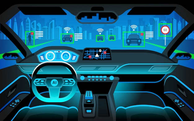 Premium Vector | Autonomous smart car inerior. self driving at night city  landscape. display shows information about the vehicle