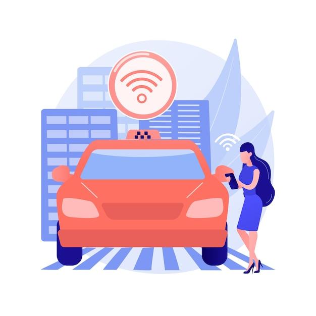 自律タクシー抽象的な概念図 無料ベクター