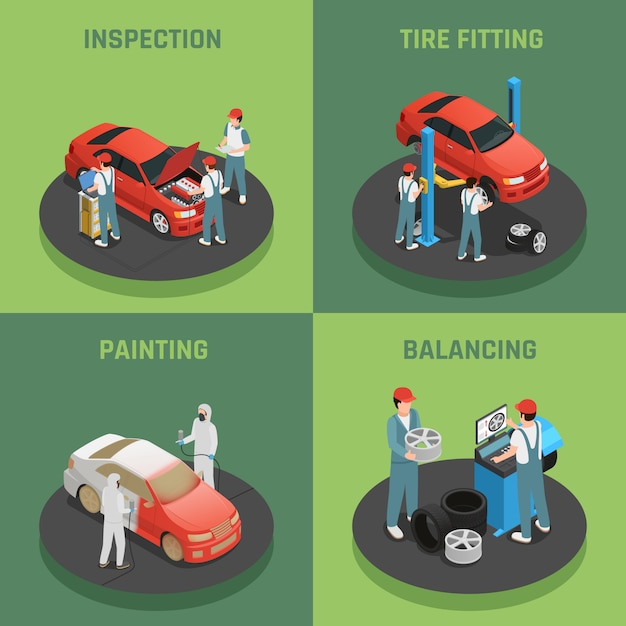 Autoservice isometric concept cards Free Vector