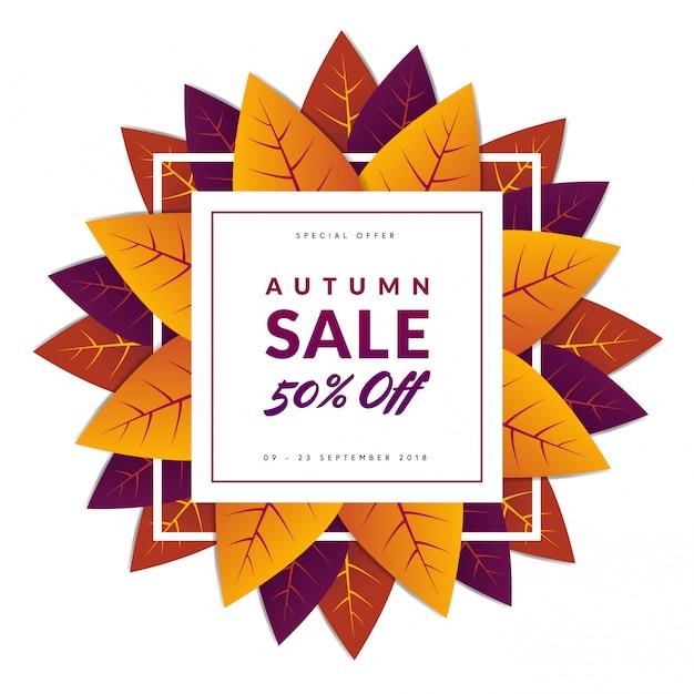 Autum sale with leafs Premium Vector
