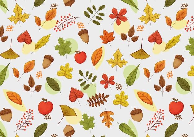 Шаблон коллекции осенних листьев Premium векторы